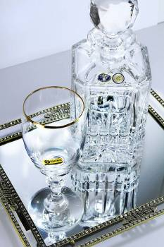 Set squared decanter in the golden strass tray