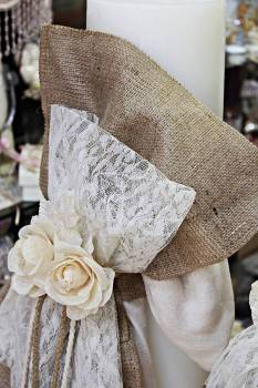 Burlap with lace & flowers in circle candle