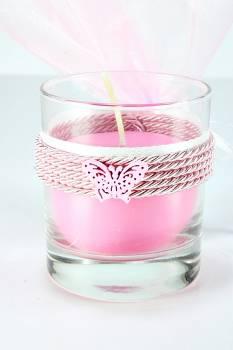 a9a2fb5db67b Μπομπονιέρα βάπτισης ποτήρι με κερί αρωματικό σε ροζ χρώμα για κορίτσι.