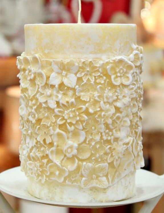 Κερί γάμου για κηροστάτη vintage καλυμένο κέρινα με λουλούδια 10x15cm