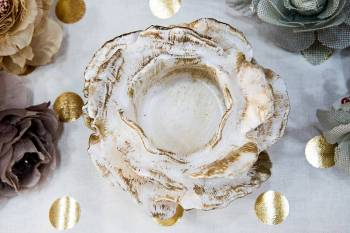 White Gold Τριανταφυλλάκι με ποτήρι ρεσώ 12x14cm