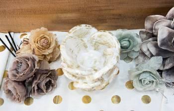 White Gold Τριαντάφυλλo με ποτηράκι ρεσώ  (medium) 14x16cm
