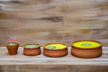 Πήλινο γλαστράκι 7*7 αντικουνουπικό κερί με citronella