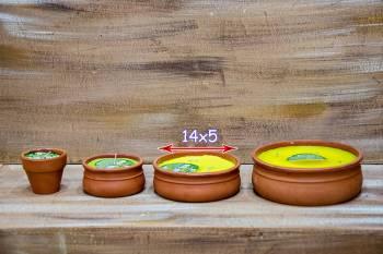 Πήλινο μεσαίο 14*5 αντικουνουπικό κερί με citronella