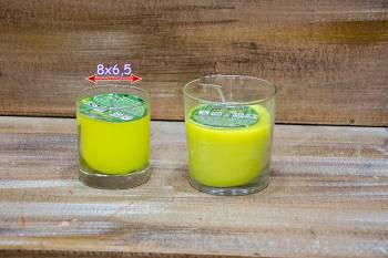 Γυάλινο ποτηράκι 8*6,5 αντικουνουπικό κερί με citronella