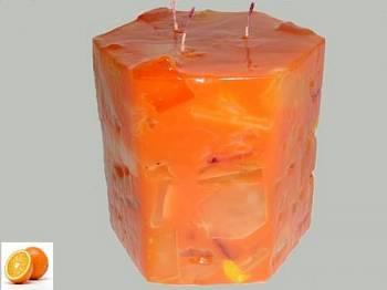 Κερί εξάγωνο με κομμάτια καιάρωμα πορτοκάλι