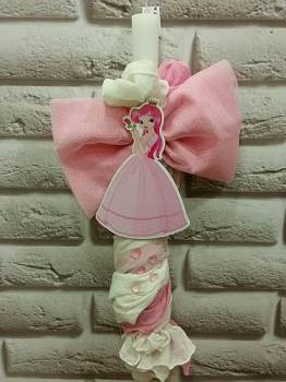 Wooden  princess  with  pink  bow