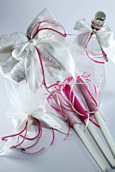 pink - white ribbon set