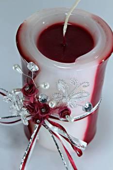 Τυλιχτό 8χ15 cm στολ. πεταλ. & λουλ. - μπορντό με άρωμα τριαντ.