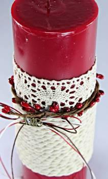 6.5*20 κόκκινο glossy αρωματικό με κλαδάκι γκι