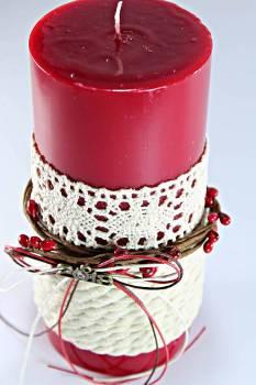 6.5*15 κόκκινο glossy αρωματικό με κλαδάκι γκι