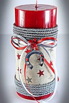 Χειροποίητο αρωματικό γυαλιστερό κόκκινο κερί με ύφασμα αστέρια πέταλο 6.5x15cm