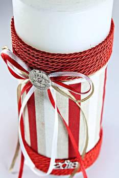 8*20 λευκό με ριγέ ύφασμα & κόκκινο κορδονάκι