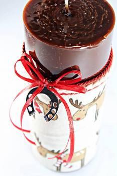 8*20 καφέ glossy αρωματικό με ασημί πεταλάκι