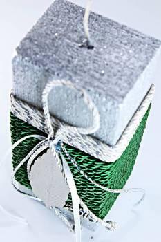 15Παραλληλόγραμο ασημί σαγρε κερί με στολισμό φύλλο (0272) 15x6.50x4.50cm
