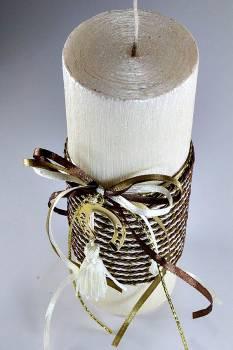 6.5*20 εκρού σαγρέ αρωματικό με κορδόνι & πεταλάκι χρυσό