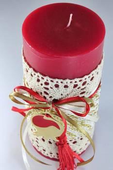 6.5*15 κόκκινο αρωματικό με κορδόνι και δαντέλα &ρόδι 0.925