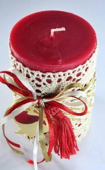6.5*10 κόκκινο αρωματικό με κορδόνι και δαντέλα &ρόδι 0.925