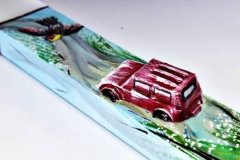Πασχαλινή λαμπάδα 18Χ058 Αμάξι - πουλί 25x4x2cm