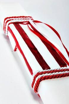 Πασχαλινή λαμπάδα 18Χ060 Άσπρο - κόκκινο φανέλα 25x4x2cm