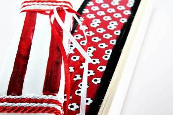 Πασχαλινή λαμπάδα 18Χ060 Άσπρο - κόκκινο φανέλα σετ 28x7cm