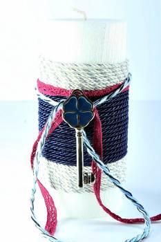 6,5*15cm Λευκό σαγρέ χριστουγεννιάτικο κερί με κλειδί1445