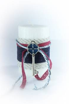 6,5*10cm Λευκό σαγρέ χριστουγεννιάτικο κερί με κλειδί1445
