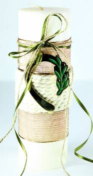6,5*20cm Εκρού κερί σαγρέ με ελιά πέταλο1839