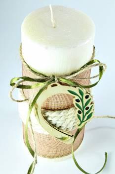 6,5*15cm Εκρού κερί σαγρέ με ελιά πέταλο1839