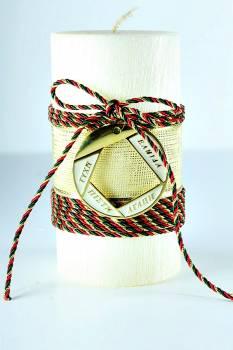 8*15cm Εκρού κερί σαγρέ κύκλος1031