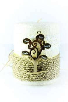 8*10cm Εκρού κερί σαγρέ δέντρο1433