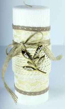 8*20cm Λευκό σαγρέ κερί ελιά1238