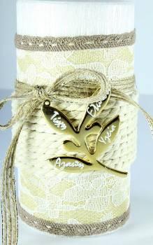 8*15cm Λευκό σαγρέ κερί ελιά1238