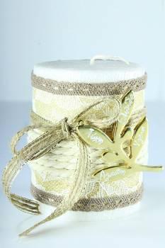 8*10cm Λευκό σαγρέ κερί ελιά1238