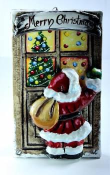 Χειροποίητη κέρινη πόρτα Άγιος Βασίλης Merry Christmas 23*14