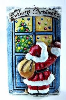 Χειροποίητη κέρινη πόρτα Άγιος Βασίλης μπλέ 23*14