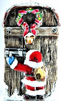 Χειροποίητη κέρινη παλιιά πόρτα Άγιος Βασίλης σε πόρτα 23*14