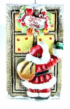Χειροποίητη κέρινη πόρτα με στεφάνι Άγιος Βασίλης 23*14