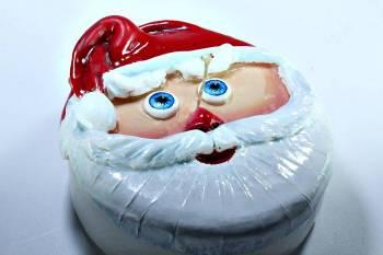 Τούρτα 15εκ Άγιος Βασίλης με γαλάζια μάτια