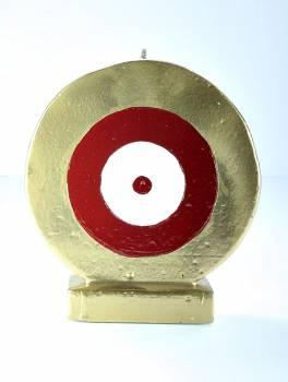 Μάτι στρόγγυλο χρυσό - κόκκινο Med 15*13*4