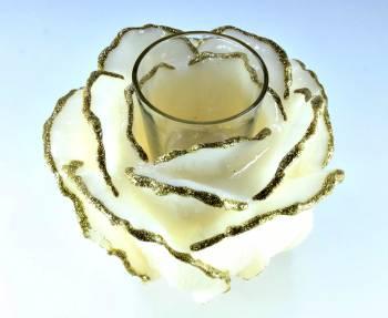 Τριαντάφυλλο με ποτήρι ρεσώ 12x14cm (Medium) - Εκρού