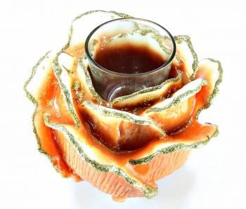 Τριαντάφυλλο καφέ χρυσό medium με ποτήρι ρεσώ