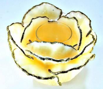 Τριαντάφυλλο Ιβουάρ Χρυσό XBig με ποτήρι ρεσό