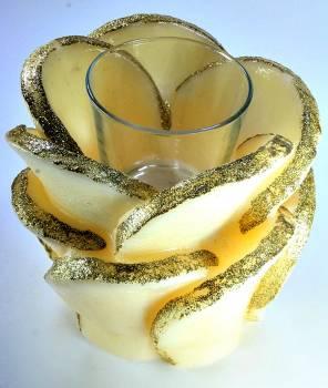 Τριαντάφυλλo με ποτηράκι ρεσώ 14x16cm (medium) - Εκρού/Χρυσό