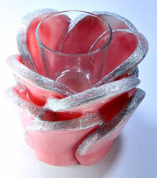 Τριαντάφυλλo με ποτηράκι ρεσώ 14x16cm (medium) - Σάπιο μήλο/Ασημί