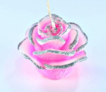 Τριανταφυλλάκι 5x7cm ροζ με ασημόσκονη