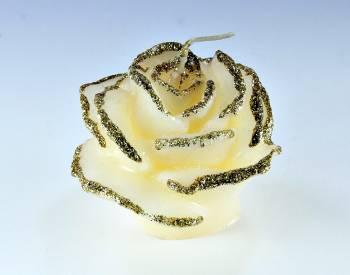 Τριανταφυλλάκι 5x7cm εκρού με χρυσόσκονη