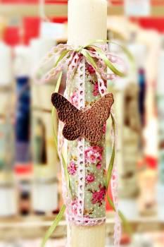 Πασχαλινή λαμπάδα 17029 Πεταλούδα χρυσή ροζ μεγάλη Ύψος 25