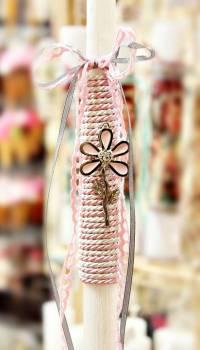 Πασχαλινή λαμπάδα 17031 Λουλούδι ροζ κορδόνι Ύψος 25