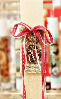 Πασχαλινή λαμπάδα 17060 Λαγουδάκι χρυσό πλακέ λαμπ. ΜΜ0541